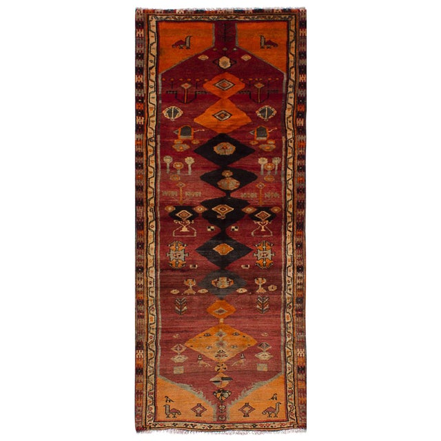 "Vintage Persian Tribal Abstract Design Runner Rug, 1970s - 42"" x 108"" - Image 1 of 3"