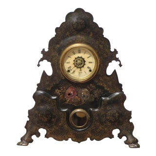 Antique Cast Iron Mantel Clock For Sale