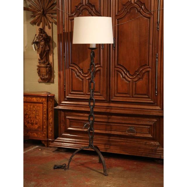French Tall 19th Century French Black Forged Iron Anchor Rope Floor Lamp For Sale - Image 3 of 12