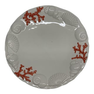 Hand Painted Coral Design Plate For Sale