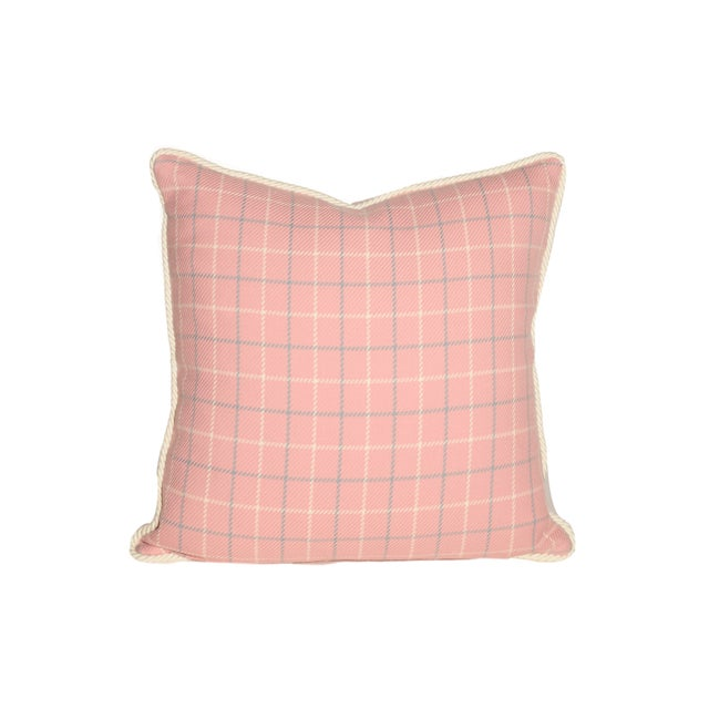 "Pair of Pink, Blue and White Tattersall Throw Pillows, 22"" square. Trimmed with Creamy White Cord. Down Inserts. Same..."