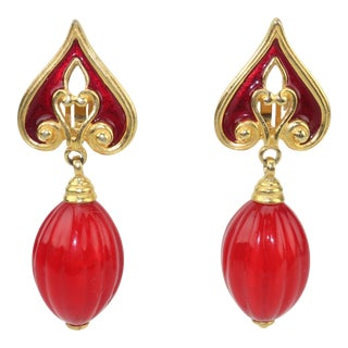 1980's Vintage Ben Amun Red & Gold Dangle Drop Earrings For Sale