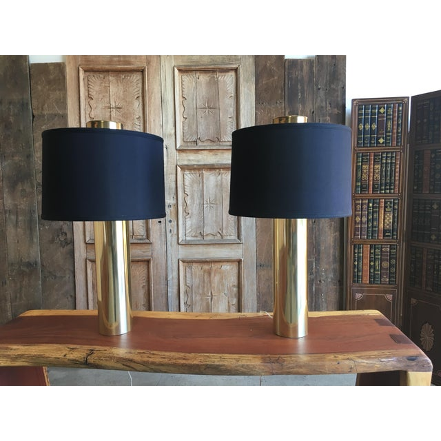 "Very handsome brass column lamps with black linen shades the brass base is 4.75"" wide"