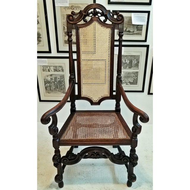 17th Century English William & Mary Oak and Cane Armchair For Sale - Image 13 of 13