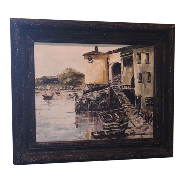 Nautical Painting of French Seaside Fishing Village For Sale - Image 9 of 9