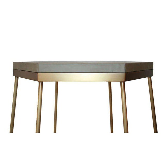2010s Customizable Richer Leather Top Side Table For Sale - Image 5 of 6