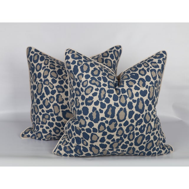 2010s Blue and Gray Leopard Linen Blend Pillows, a Pair For Sale - Image 5 of 5
