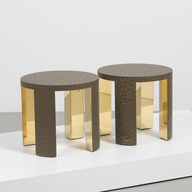 Contemporary The Circular Crackle Side Tables by Talisman Bespoke (Bronze and Gold) For Sale - Image 3 of 10