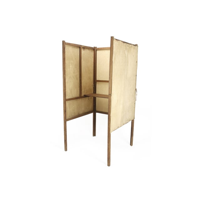 Boho Chic 1920s Wood and Canvas Voting Booth For Sale - Image 3 of 4