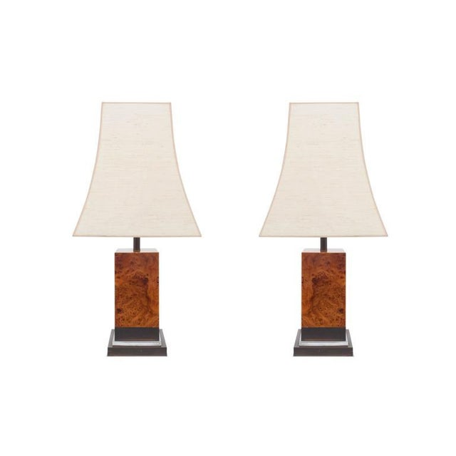 Pair of Burl Lamps by Jean Claude Mahey For Sale - Image 6 of 9