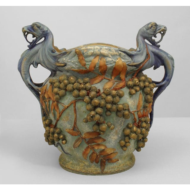 Austrian Monumental Blue/Green Amphora Jardiniere For Sale - Image 9 of 9