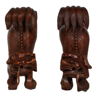 Antique Chinese Rosewood Carved Foo Dog Wall Decor - a Pair For Sale