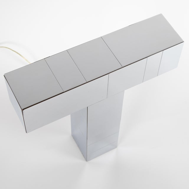 "1970s 1970's Paul Evans Chrome ""Cityscape"" Table or Desk Lamp For Sale - Image 5 of 13"