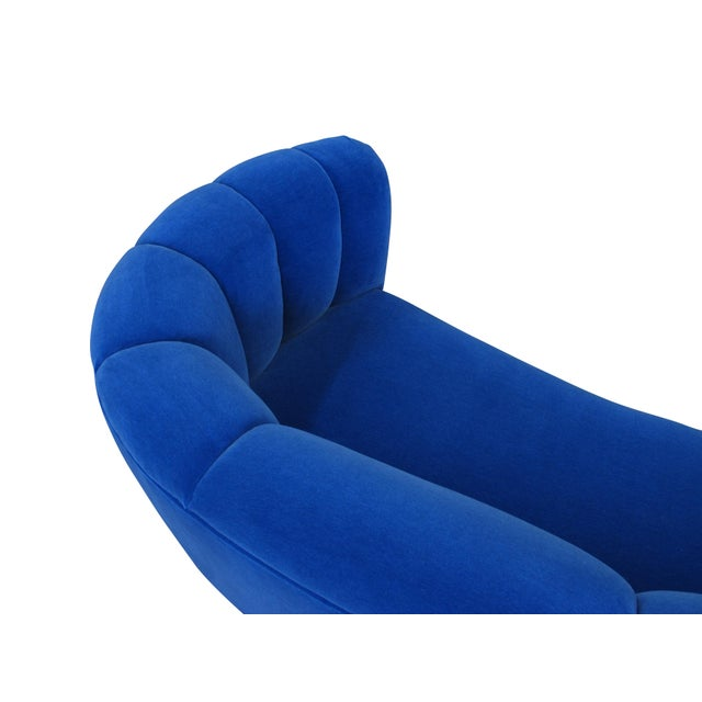Danish Deco Blue Mohair Settee For Sale - Image 9 of 10