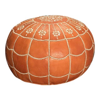 Full Arch Pouf Ottoman by Mpw Plaza, Light Tan (Stuffed) Moroccan Leather Pouf Ottoman For Sale