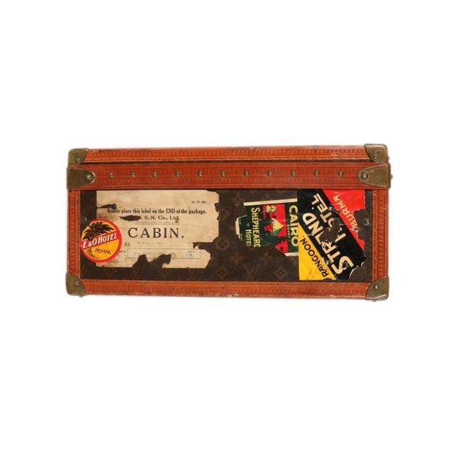 Early 20th Century Louis Vuitton Paris Monogram Canvas Trunk, Hard Suitcase For Sale - Image 11 of 13