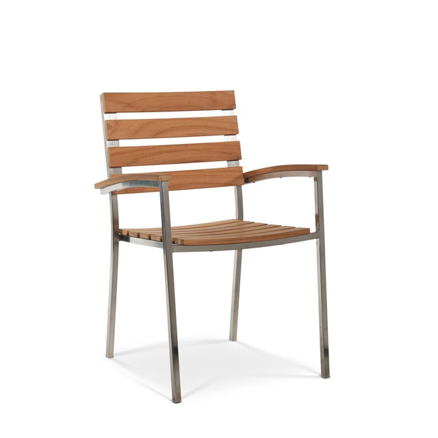 The Al Fresco Outdoor Dining Armchair is a stylish blend of modern steel and timeless teak. The steel frames make creates...