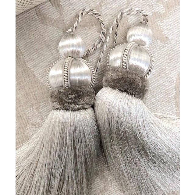 Silver Key Tassels With Cut Ruche - a Pair For Sale - Image 9 of 11