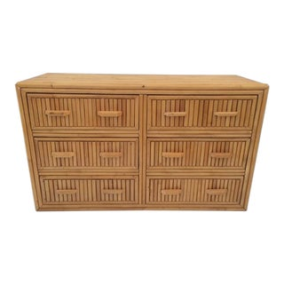 1980s Boho Chic Bamboo 6-Drawer Chest For Sale