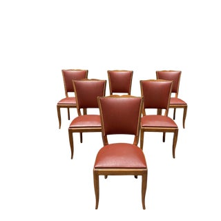 1940s Vintage French Art Deco Solid Walnut Dining Chairs - Set of 6 For Sale