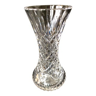 1980s Art Deco Cut Crystal Vase For Sale