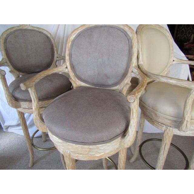 Faux Bois & Leather Upholstered Swivel Bar Stools - Set of 4 - Image 4 of 6