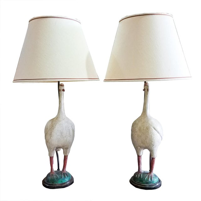 1950s 1950s Vintage Painted Standing Bird Lamps - a Pair For Sale - Image 5 of 5