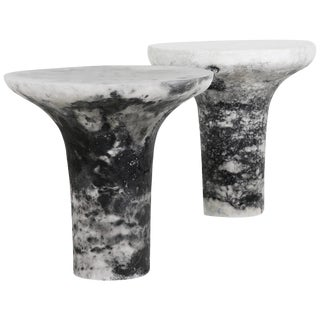 Pair of Marbled Salts Gueridons by Roxane Lahidji For Sale