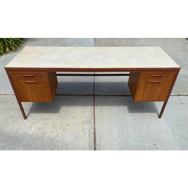 Jens Risom Jens Risom Early Teak, Metal and Vinyl Oversized Desk For Sale - Image 4 of 12