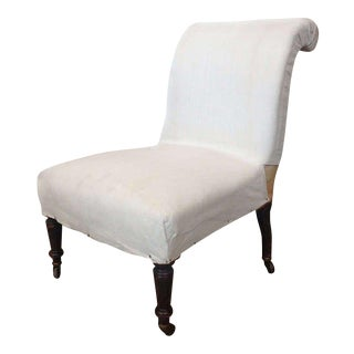 French 19th Century Slipper Chair With Rolled Back