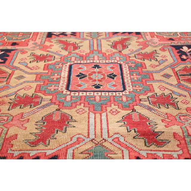 Room Size Antique Persian Heriz Geometric Rug - 11′ × 14′5″ For Sale - Image 11 of 13