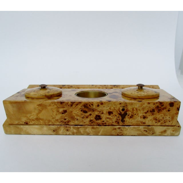Lacquered Burl Wood Desk Set For Sale In Los Angeles - Image 6 of 8