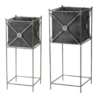 Classic Metal Planters on Stands Set from Kenneth Ludwig Home - a Pair For Sale