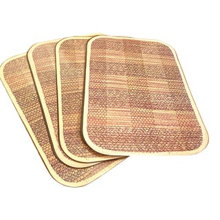 1970's Plastic Faux Bamboo Placemats- a Set of 4 For Sale