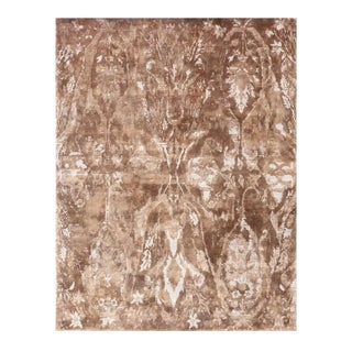 Exquisite Rugs Newport Hand Loom Bamboo Silk Navy & Beige - 10'x14' For Sale