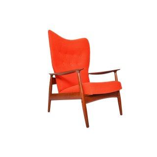 K. Rasmussen Teak Highback Reclining Lounge Chair For Sale