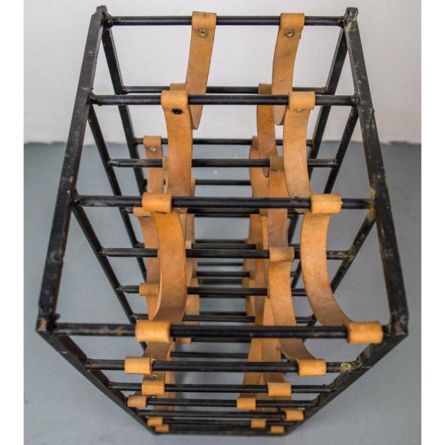 Pair of Iron and Leather Wine Racks by Arthur Umanoff, 1950s For Sale - Image 6 of 9