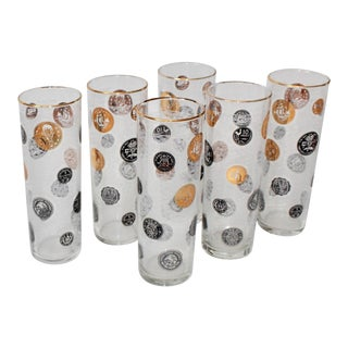 Mid Century Modern Signed Libbey International Coin Glasses - Set of Six