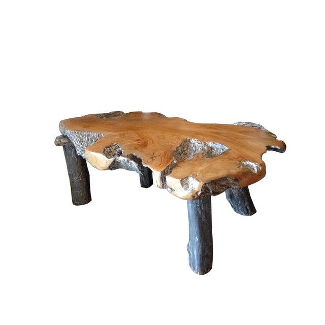 Rustic Natural Edge Teak Slab Coffee Table - Image 2 of 7