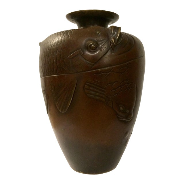 19th Century Japanese Bronze Vase With Carp Motif Chairish