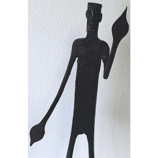 Late 20th Century Wrought Iron Walking Man and Shadow Bookends For Sale - Image 5 of 13