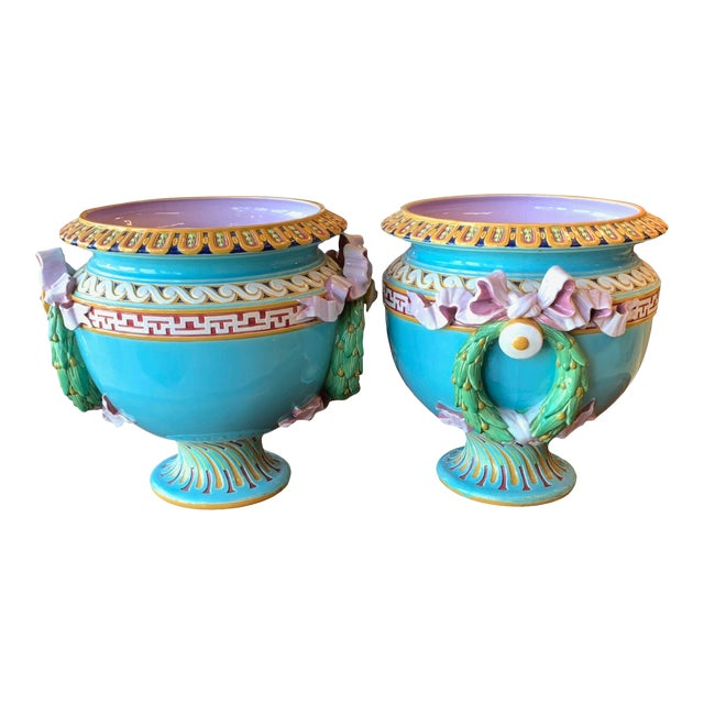Antique Minton Majolica Urns - a Pair For Sale