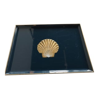 1950s Nautical Laqueware Otagiri Japan Decorative Tray For Sale
