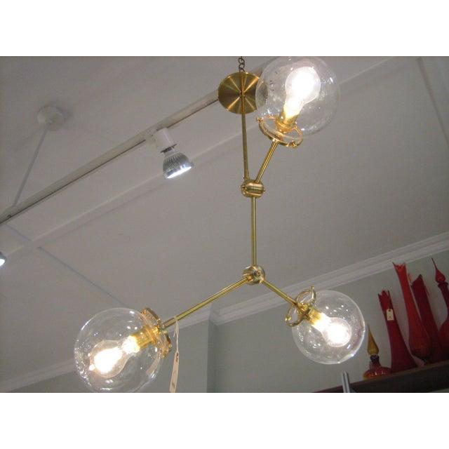 Custom Brass Three Globe Chandelier For Sale - Image 4 of 7