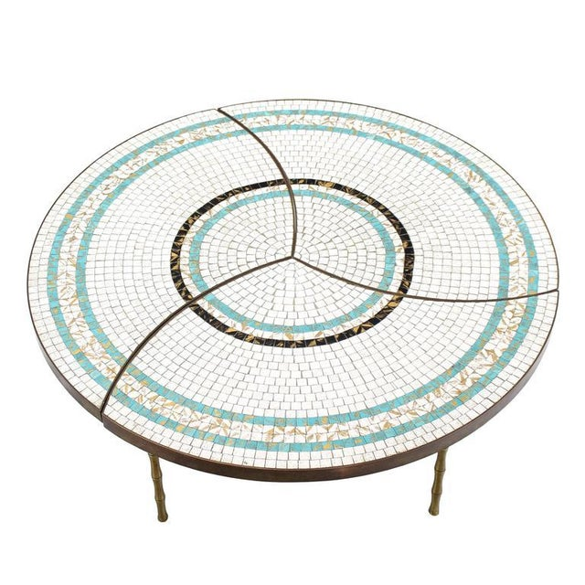 Three-Part Bronze and Mosaic Round Coffee Table For Sale - Image 4 of 9