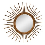Image of Vintage Rattan Sunburst Mirror For Sale