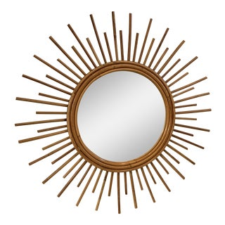 Vintage Rattan Sunburst Mirror For Sale