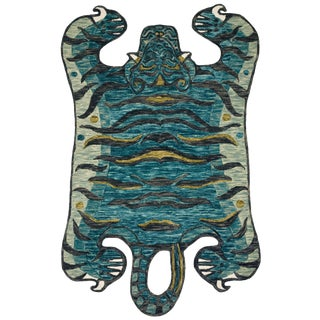 "Justina Blakeney X Loloi Rugs Feroz Rug, Teal - 4'0""x6'0"" For Sale"