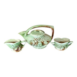 Vintage 1940's McCoy Pine Cone Teapot Sugar Creamer Pottery Set - Set of 3 For Sale
