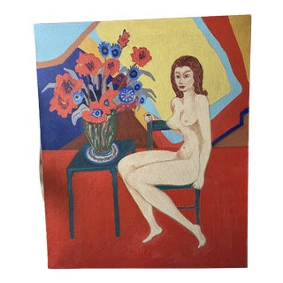 1980s Nude and Floral Still Life Oil Painting For Sale